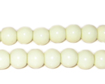 8mm Cream Round Opaque Pressed Glass Bead