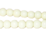 8mm White Round Opaque Pressed Glass Bead