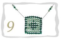 Beaded Swarovski Square Pendant Necklace