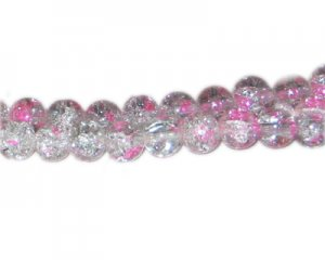 10mm Light Rose Crackle Spray Glass Bead, approx. 21 beads