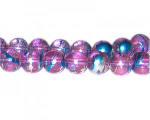 12mm Purple Dusk Abstract Glass Bead, approx. 18 beads