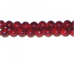 8mm Deep Red Marble-Style Glass Bead, approx. 55 beads