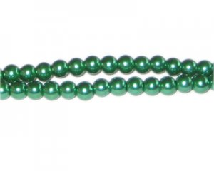 6mm Grass Green Glass Pearl Bead, approx. 78 beads