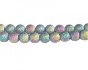 8mm Luster Druzy-Style Electroplated Glass Bead, approx. 36 bead