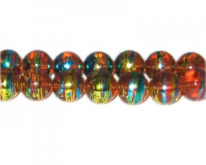12mm Orange Dawn Abstract Glass Bead, approx. 18 beads
