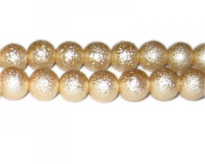 12mm Champagne Rustic Glass Pearl Bead, approx. 17 beads
