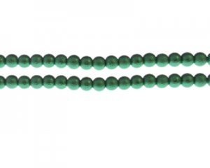 6mm Dark Green Rustic Glass Pearl Bead, approx. 71 beads
