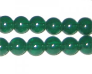 12mm Hunter Green Jade-Style Glass Bead, approx. 18 beads