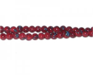 6mm Red Marble-Style Glass Bead, approx. 73 beads