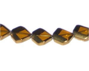 14mm Gold Vintage-Style Glass Bead, approx. 5 beads