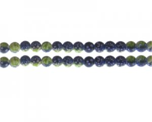 6mm Apple Green/Dark Blue Spot Marble-Style Glass Bead, approx.