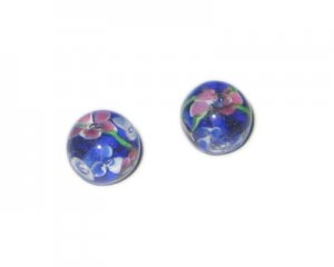 14mm Royal Blue Floral Handmade Lampwork Glass Bead, 4 beads