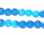 10mm Dark to Light Turquoise Crackle Bead