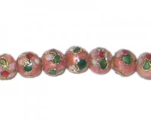 8mm Pink Round Cloisonne Bead, 6 beads