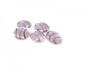 14mm Pink Stripe Foil Lampwork Glass Bead, 5 beads