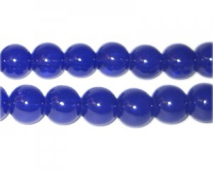 10mm Navy Jade-Style Glass Bead, approx. 21 beads