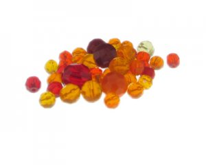 Approx. 1.5 - 2oz. Citrus Flowers Glass Bead Mix