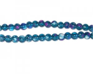 6mm Turquoise Blossom Spray Glass Bead, approx. 72 beads