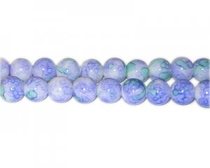 10mm Lavender Marble-Style Glass Bead, approx. 22 beads