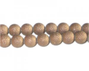10mm Bronze Druzy-Style Electroplated Glass Bead, approx. 24 bea