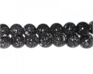 12mm Black Spot Marble-Style Glass Bead, approx. 18 beads