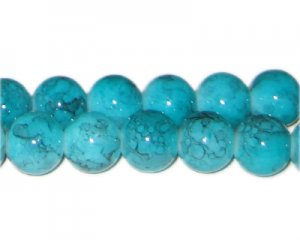 12mm Aquamarine-Style Glass Bead, approx. 18 beads