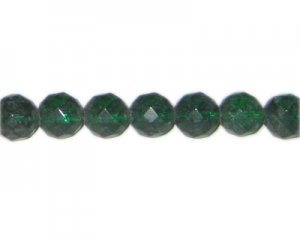 "12mm Dark Green Faceted Round Glass Bead, 13"" string"