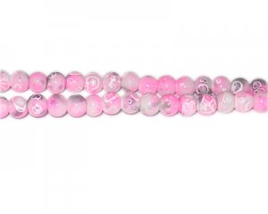 6mm Hot Pink Swirl Marble-Style Glass Bead, approx. 73 beads