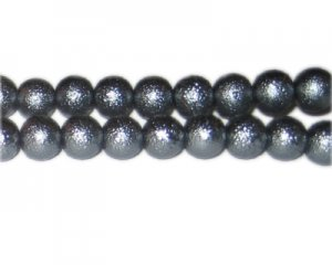 10mm Charcoal Rustic Glass Pearl Bead, approx. 23 beads