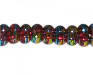 10mm Red Flame Abstract Glass Bead, approx. 22 beads