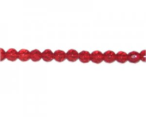 "8mm Strawberry Red Faceted Glass Bead, 14"" string"