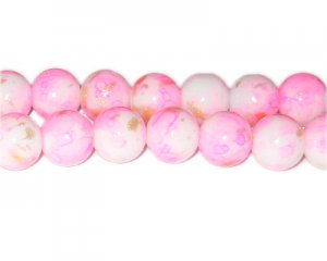 12mm Hot Pink GoldLeaf-Style Glass Bead, approx. 17 beads
