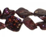 14 - 21mm Maroon Speckled Irregular Diamond Luster Shell Bead