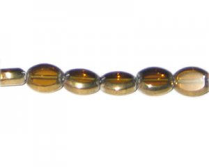 12 x 10mm Gold Vintage-Style Glass Bead, approx. 7 beads