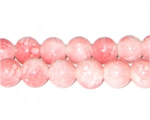 12mm Rose Quartz-Style Glass Bead, approx. 18 beads