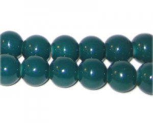 10mm Teal Team and School Glass Bead, approx. 22 beads