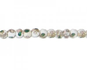 4mm White Round Cloisonne Bead, 10 beads