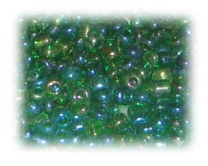 6/0 Grass Green Rainbow Luster Glass Seed Beads, 1 oz. bag