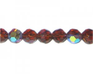 "12mm Brown Faceted Round AB Finish Glass Bead, 13"" string"