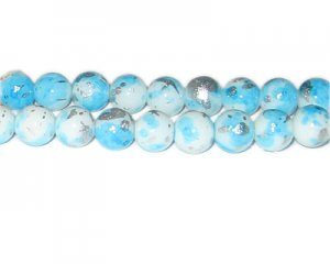 10mm Baby Blue SilverLeaf-Style Glass Bead, approx. 21 beads