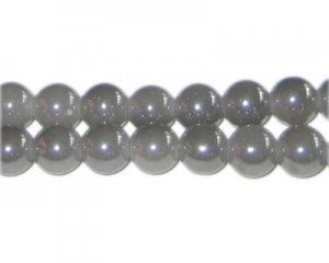 8mm Smoky Gray Galaxy Glass Bead, approx. 52 beads
