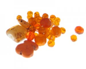 Approx. 1.5 - 2oz. Orange U Lucky? Glass Bead Mix