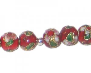 10mm Black Round Cloisonne Bead, 6 beads