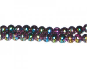 8mm Purple Pulse Abstract Glass Bead, approx. 54 beads