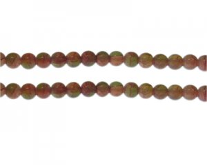 8mm Carnelian/Olive Duo-Style Glass Bead, approx. 35 beads