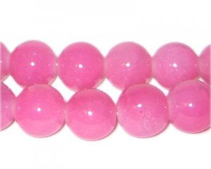 12mm Pink Jade-Style Glass Bead, approx. 18 beads