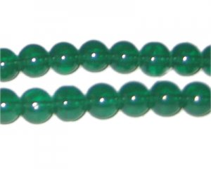 10mm Hunter Green Jade-Style Glass Bead, approx. 21 beads