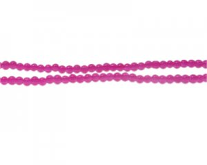 4mm Magenta Jade-Style Glass Bead, approx. 105 beads