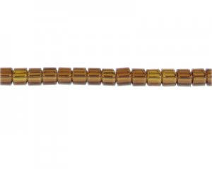 "6mm Brown Faceted Cube Glass Bead, 13"" string"