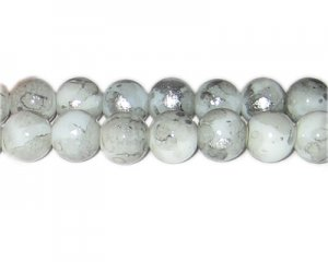 12mm Silver SilverLeaf-Style Glass Bead, approx. 17 beads
